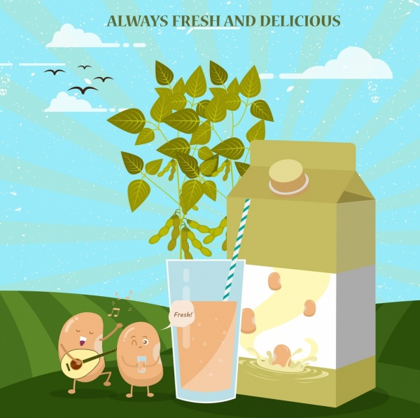 soybean advertisement cute stylized beans glass box icons