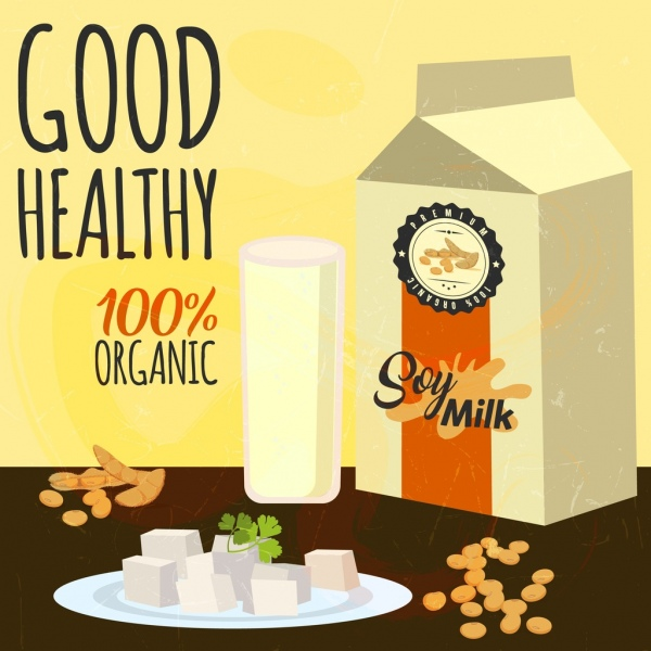 Soybean Advertising Milk Box Dairy Food Icons