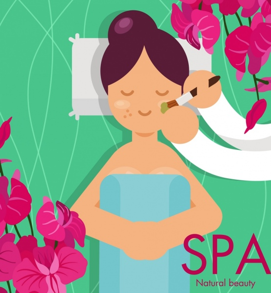spa advertising banner woman flowers icons decor