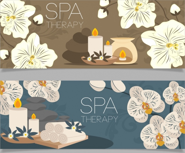 spa background sets candle stone flowers icons decor
