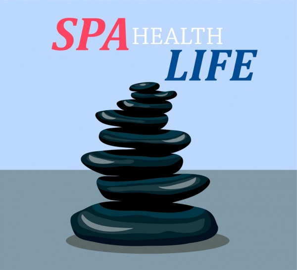 spa banner stack stones icons decor