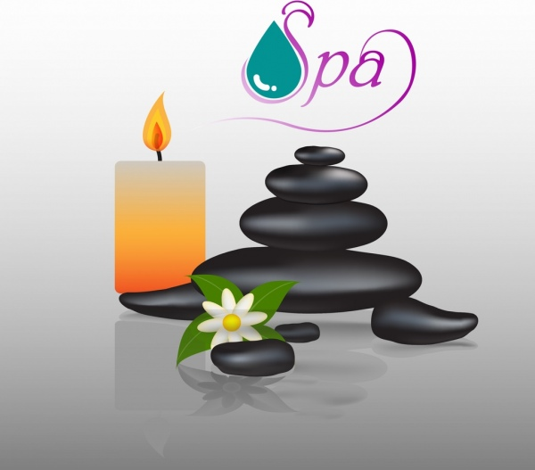 spa colored background candle stones droplet flower decoration