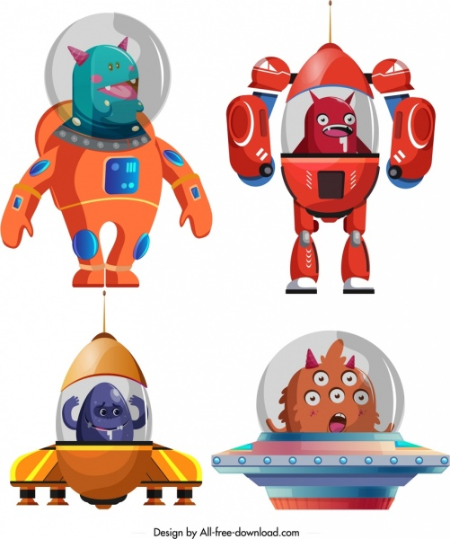 space alien icons colored cartoon characters sketch