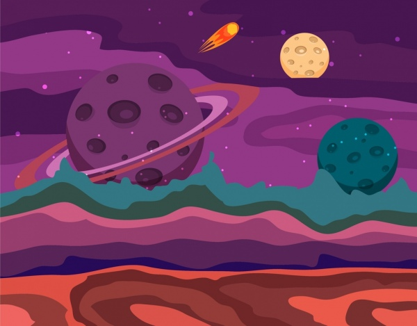 space background dark colorful decoration planet icons