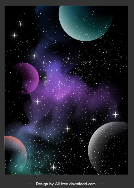 Space Background Twinkling Stars Planets Decor Free Vector In Adobe Illustrator Ai Ai Format Encapsulated Postscript Eps Eps Format Format For Free Download 6 12mb