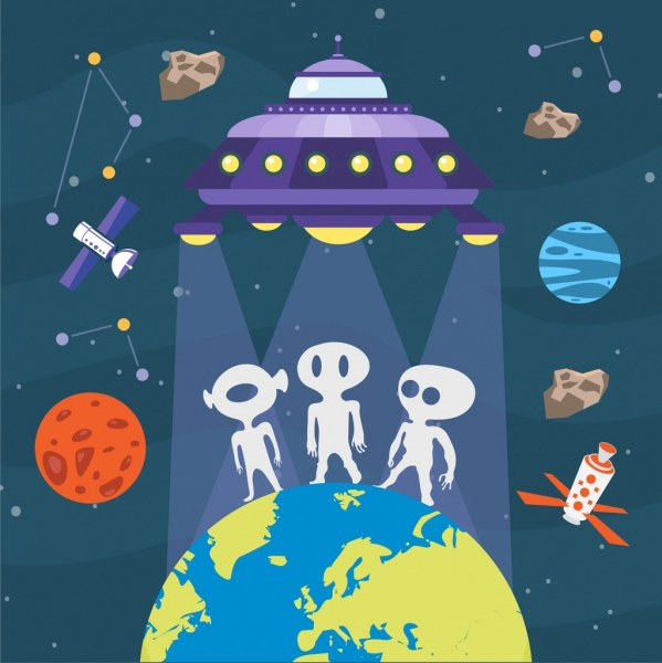 space background ufo alien residence earth decoration