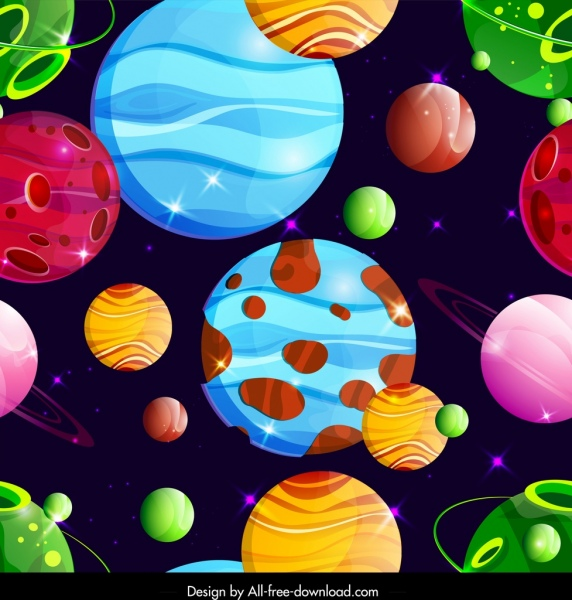 space pattern template colorful planets icons decor free vector in