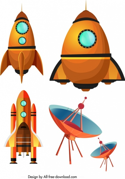 space science design elements spaceship satellite icons free vector
