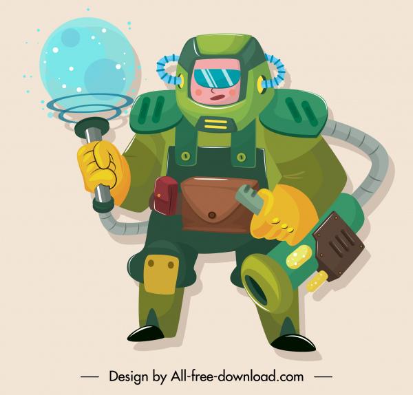 space soldier icon modern armour sketch cartoon design