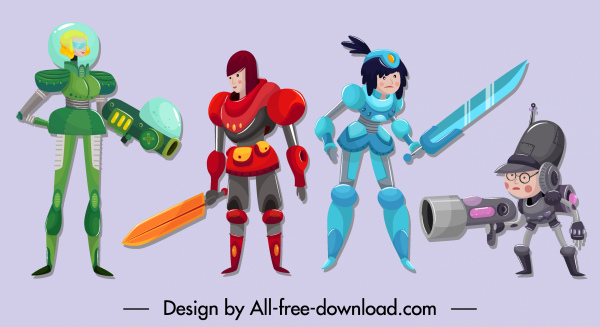 space warrior icons contemporary design cartoon characters sketch