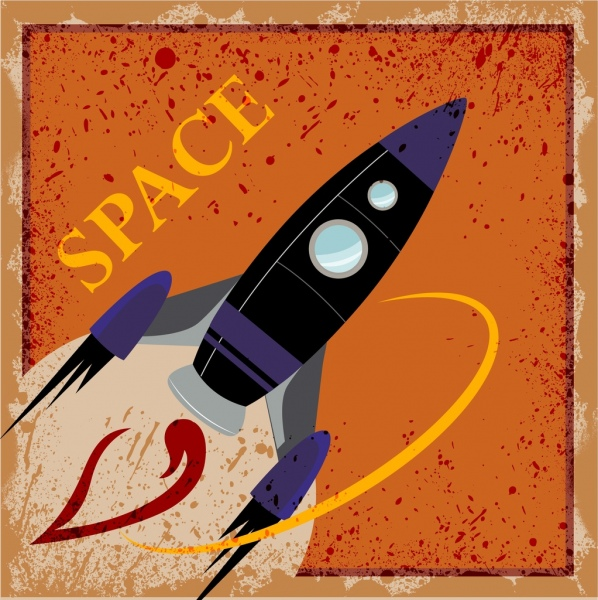 spaceship drawing classical grunge decor