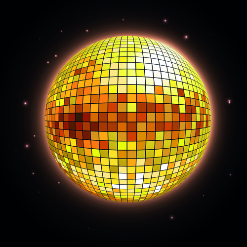 sparkling disco neon light ball background vector free vector in