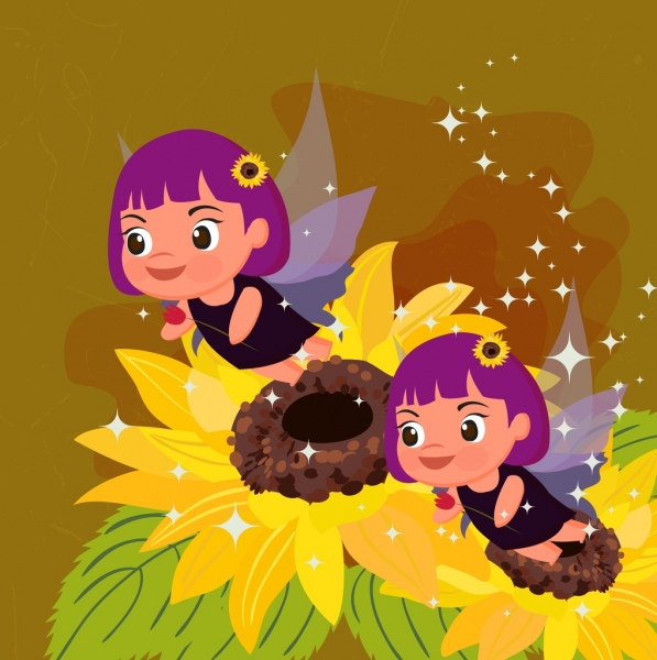 sparkling fairy background cute winged girls flowers icons