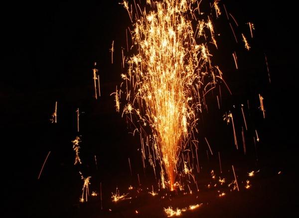sparkling fireworks cone