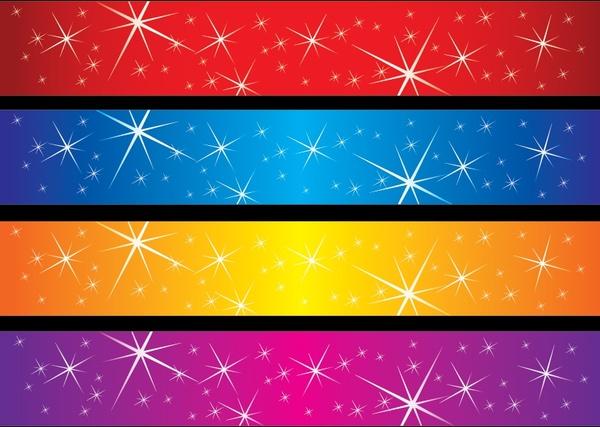 decorative background sets colorful sparkling horizontal design