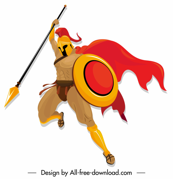 spartan knight icon attacking gesture colored cartoon character