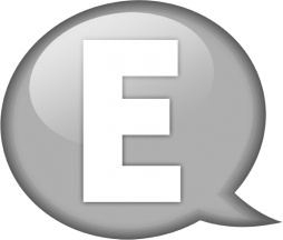 Speech balloon white e