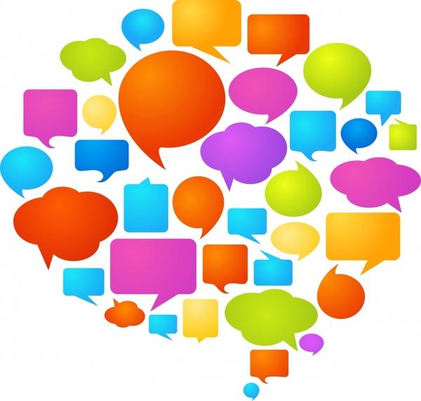 speech bubble templates colorful flat shapes