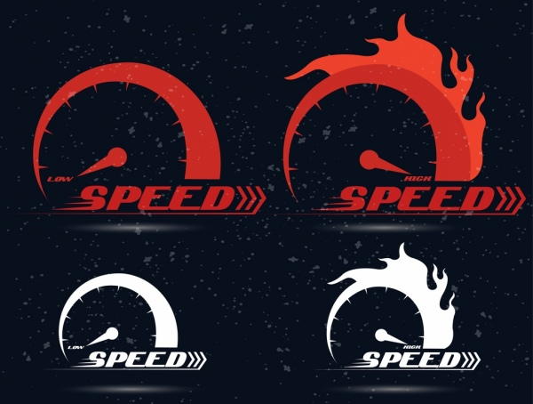 speed icons sets flame decoration circle speedometer design