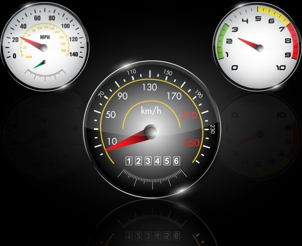 Speedometer icons shiny flat round design Free vector in