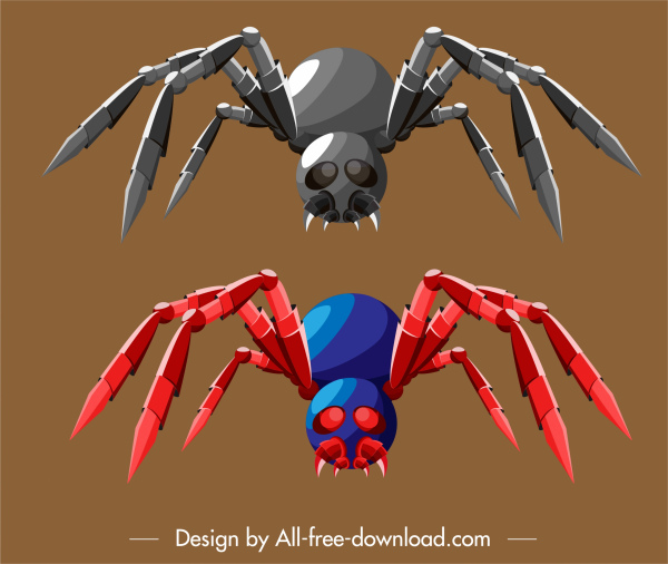 spider robot icon colored 3d sketch