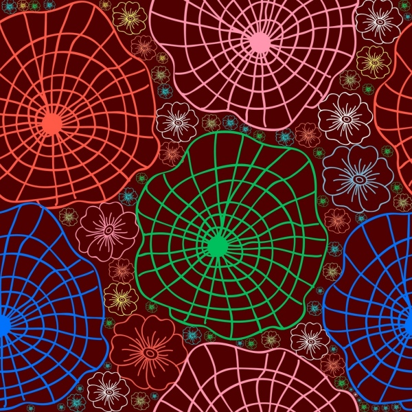 spider webs flowers pattern outline repeating colorful style