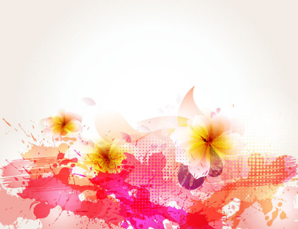 splash color flower backgrounds vector