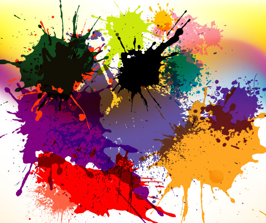 splashed designs in colored vector