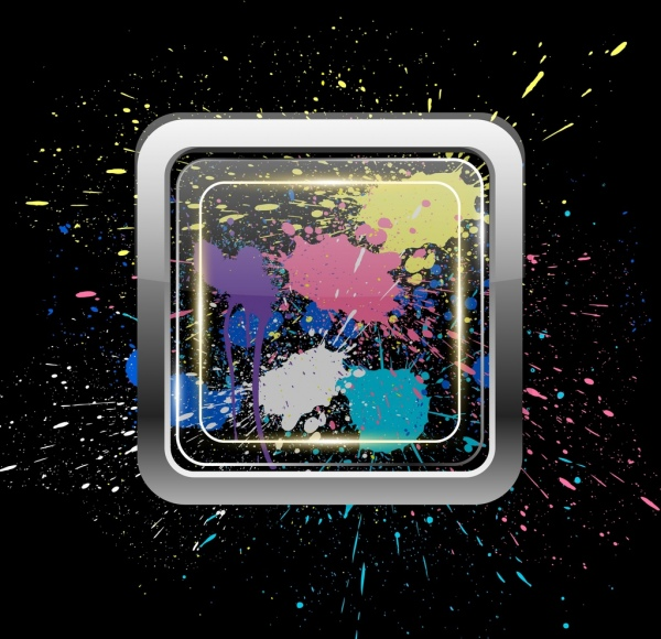 splashing colorful paint background grunge decoration square frame