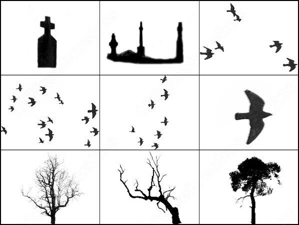 spooky mist, birds, gravestones, and trees brush