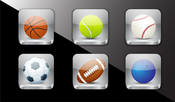 sport ball icons set