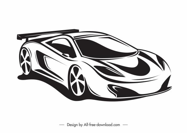 sport car mode icon black white handdrawn sketch