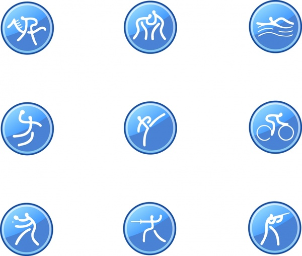 sports icons collection activities sketch flat circles isolation