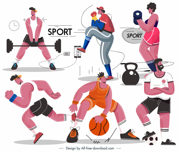 sports athletes icons cartoon characters sketch
