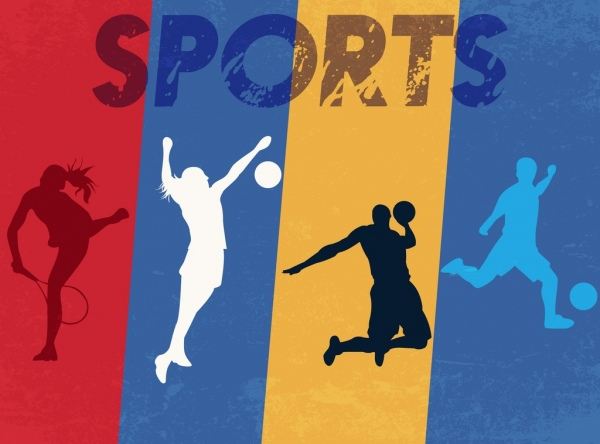 sports background athlete icons silhouette retro design