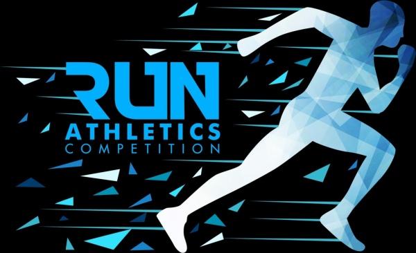sports background jogging athlete icon polygon silhouette design