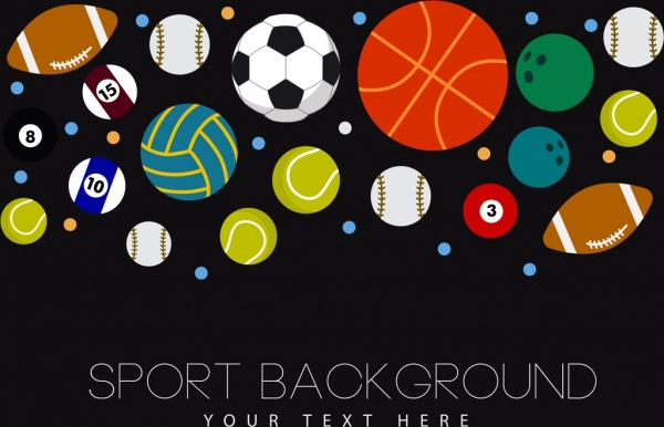 sports background various balls icons decoration