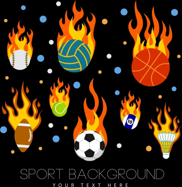 sports background various balls icons flaming decoration