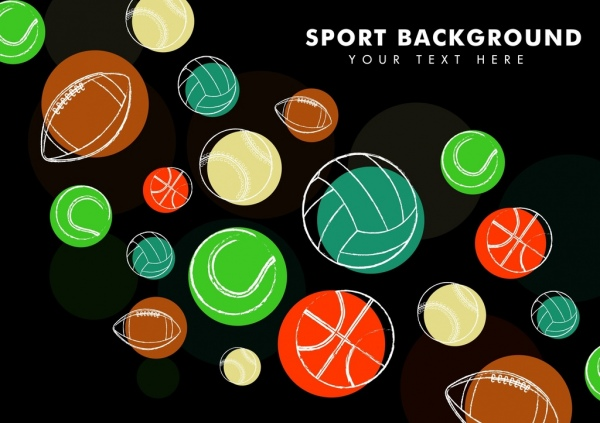 sports background various balls icons sketch