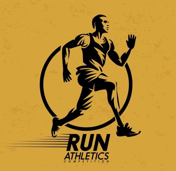 sports banner run athletics icon yellow retro design
