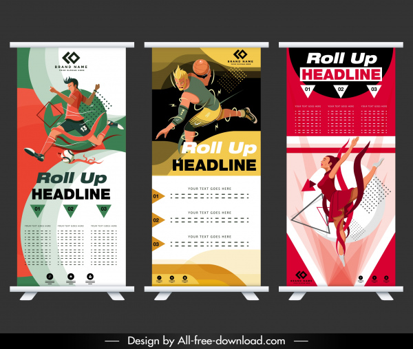 sports banner templates colorful soccer basketball aerobic sketch