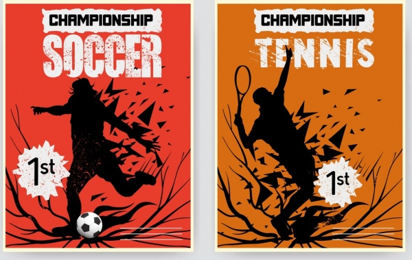 sports banners soccer tennis theme silhouette explosive design