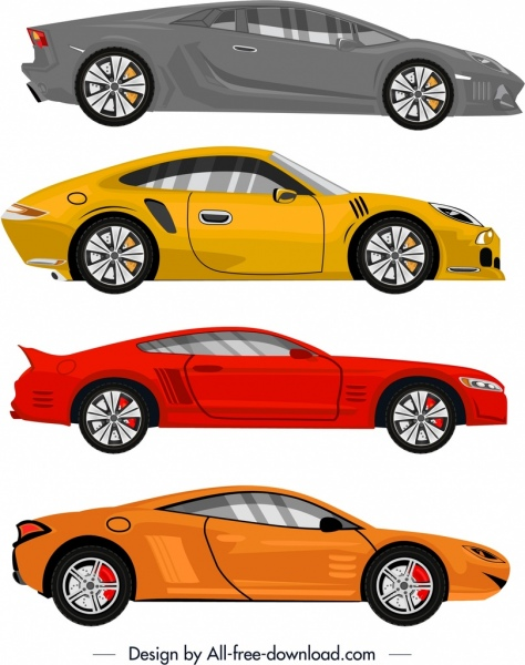 sports car models icons colored modern design