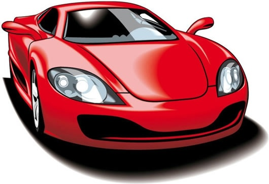 sports car icon shiny red 3d sketch
