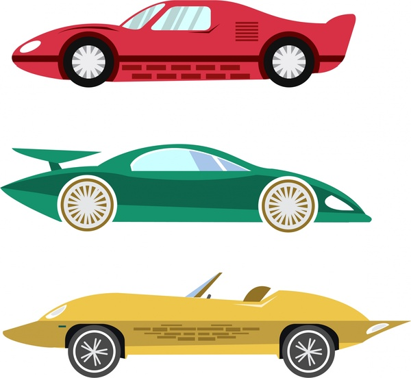 sports cars design isolated on white background