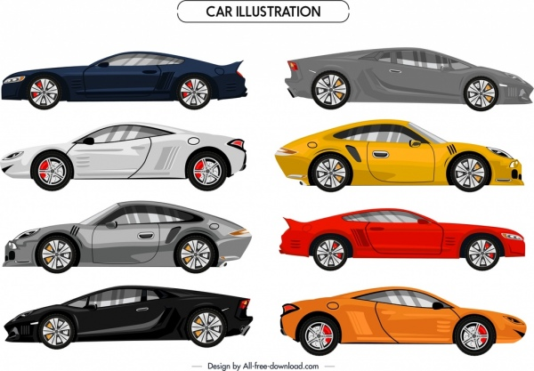 sports cars icons colorful modern design