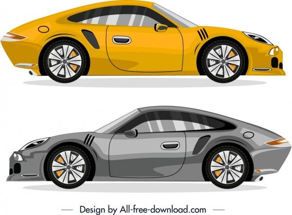 sports cars icons yellow grey modern design