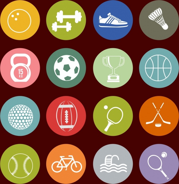 sports design elements flat sketch circle isolation