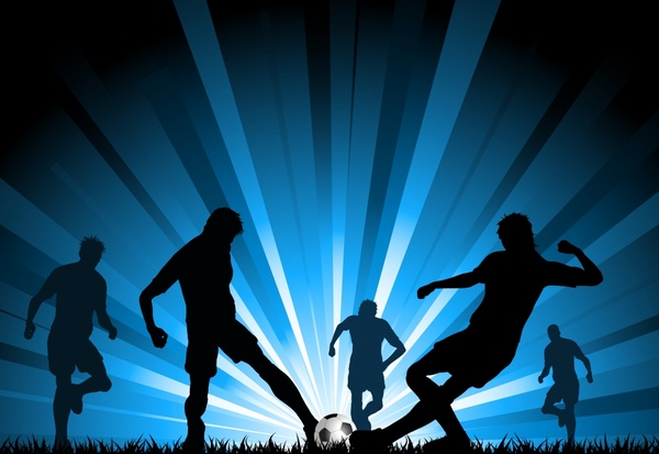 soccer background players silhouette design dark rays decor
