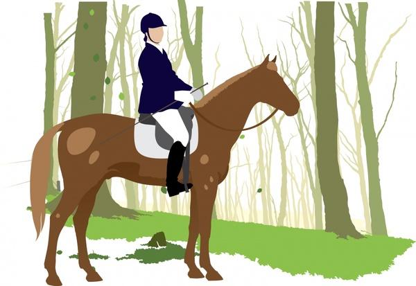 horseback sport painting colored classical design cartoon sketch